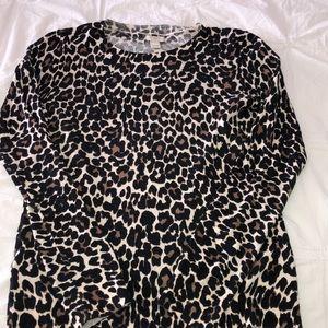 JCrew cotton teddy sweater-leopard xsmall